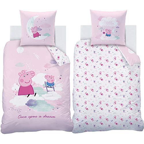 BERONAGE Peppa Wutz Pig Kinder Wende-Bettwäsche Dream Rosa 135 x 200 cm + 80 x 80 cm 100% Baumwolle in Renforcé-Linon-Qualität George Grampy Rabbit Mama Papa Mümmel deutsche Größe mit Reißverschluss