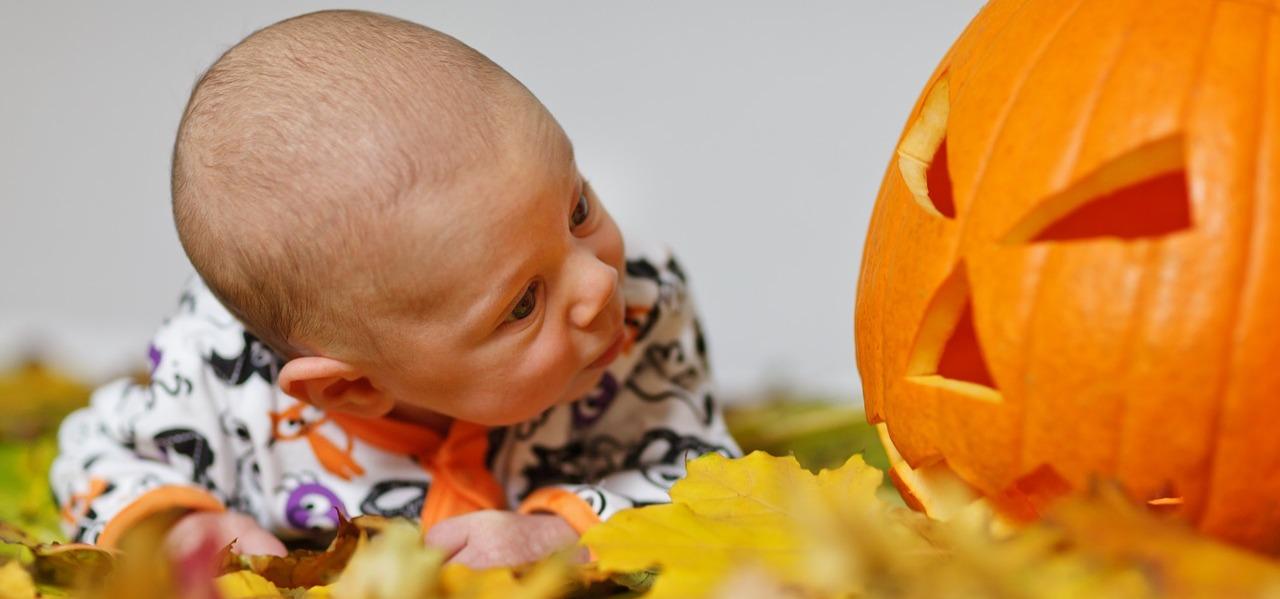 Baby schaut Halloweenkürbis an