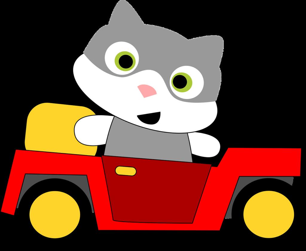 Illustration - Katze sitzt im Auto