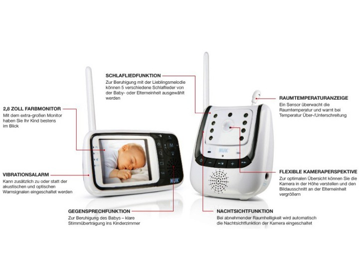 NUK 10256296 - Babyphone Eco Control+ Video,