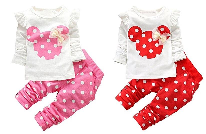 Langarmshirt und Hose mit Pünktchen Minnie Mouse Design in rosa und rot