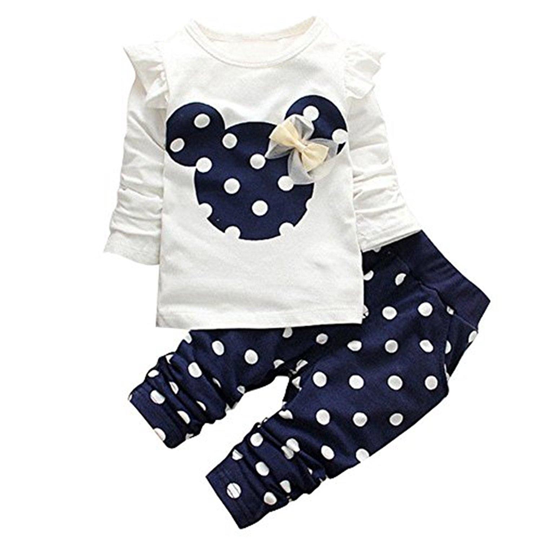 Langarmshirt und Hose mit Pünktchen im Minnie Mouse Design
