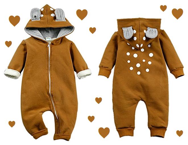 Kapuzenoverall für Babys in Rehkitz-Design