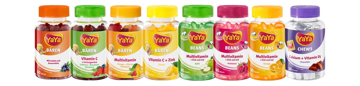 YaYa Nahrungsergänzungsmittel YaYaBären®, YaYaBeans® und YaYaChews®