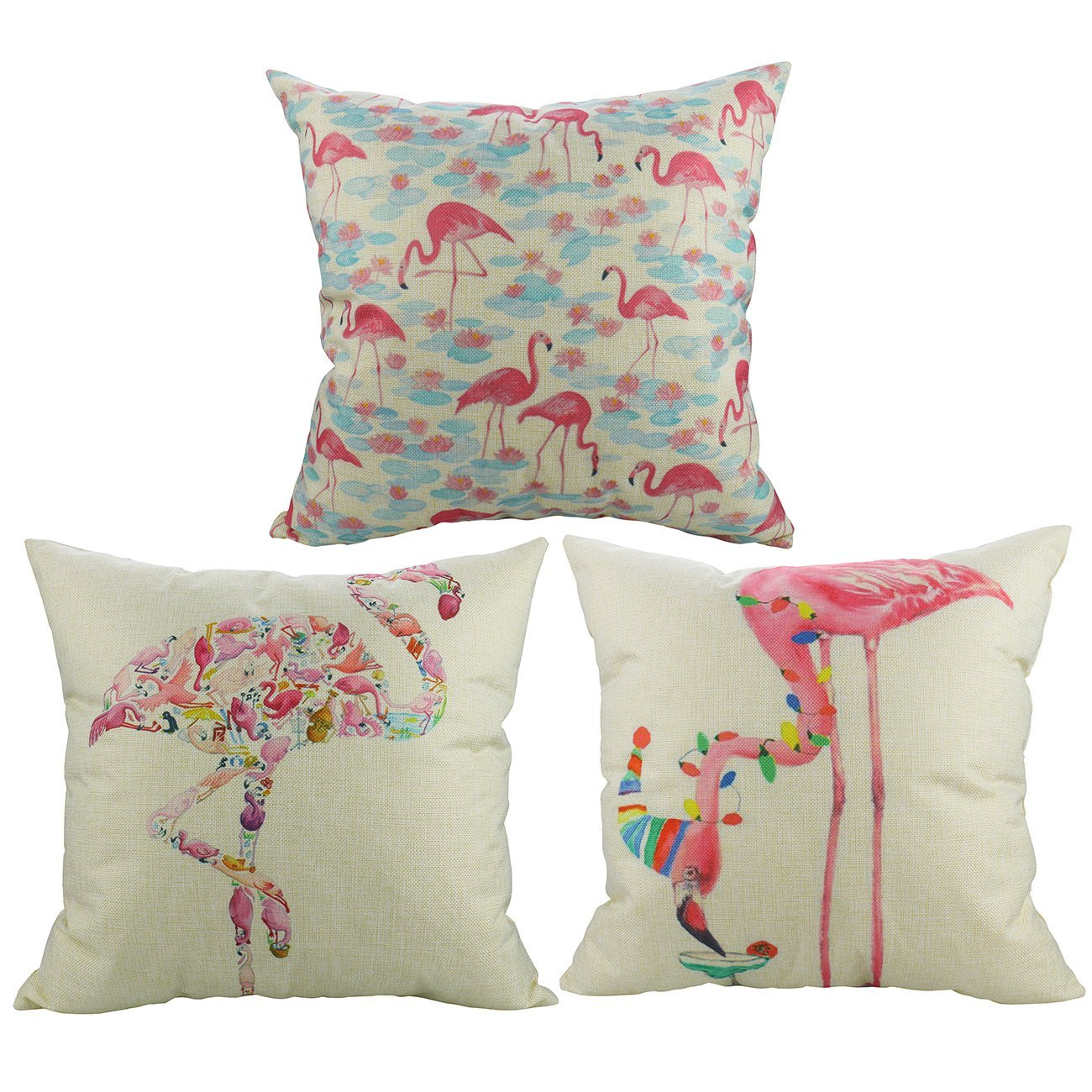 3er Set Flamingo Kissen