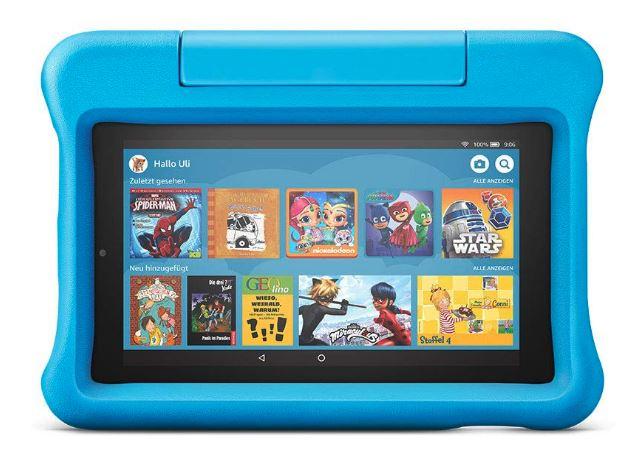 blaues amazon fire kids tablet
