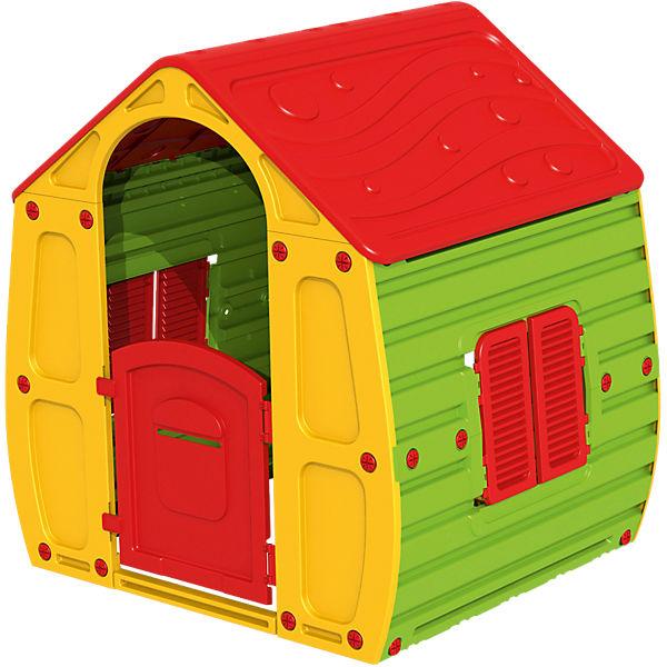 Starplast Spielhaus in rot, gelb und grün