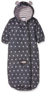 Grauer Baby-Schlafsack mit Sternchen und Kapuze