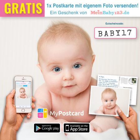 Mypostcard.com Babybild mit Gutscheincode drauf