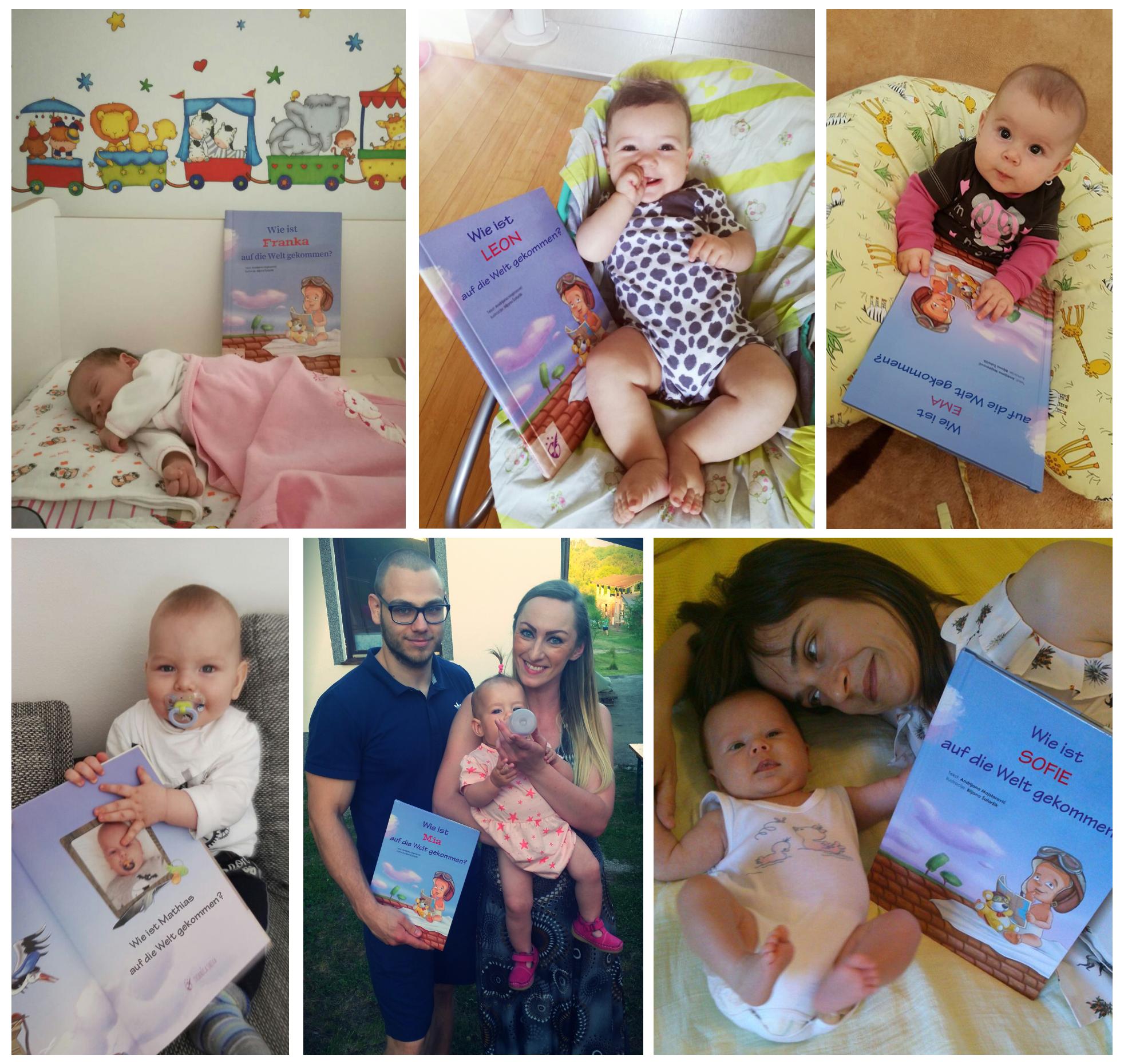 Babies, die Mr. Goodknight Kinderbücher in der Hand halten