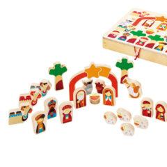 Weihnachtliche Krippe mit Holzfiguren