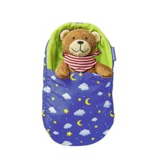 Teddy liegt im Schlafsack