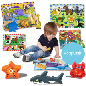 Holzklotz-Puzzle mit extra dicken Holztieren