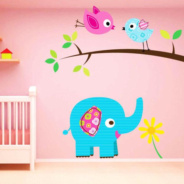 Wandtattoo mit Elefant und Vögeln