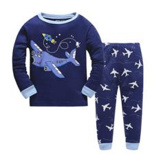 blauer Schlafanzug mit Flugzeug