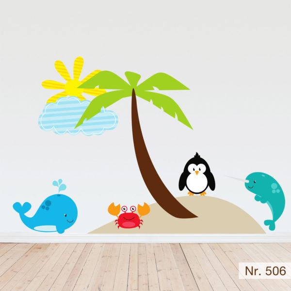 Wandtattoo mit Pinguin und Walen