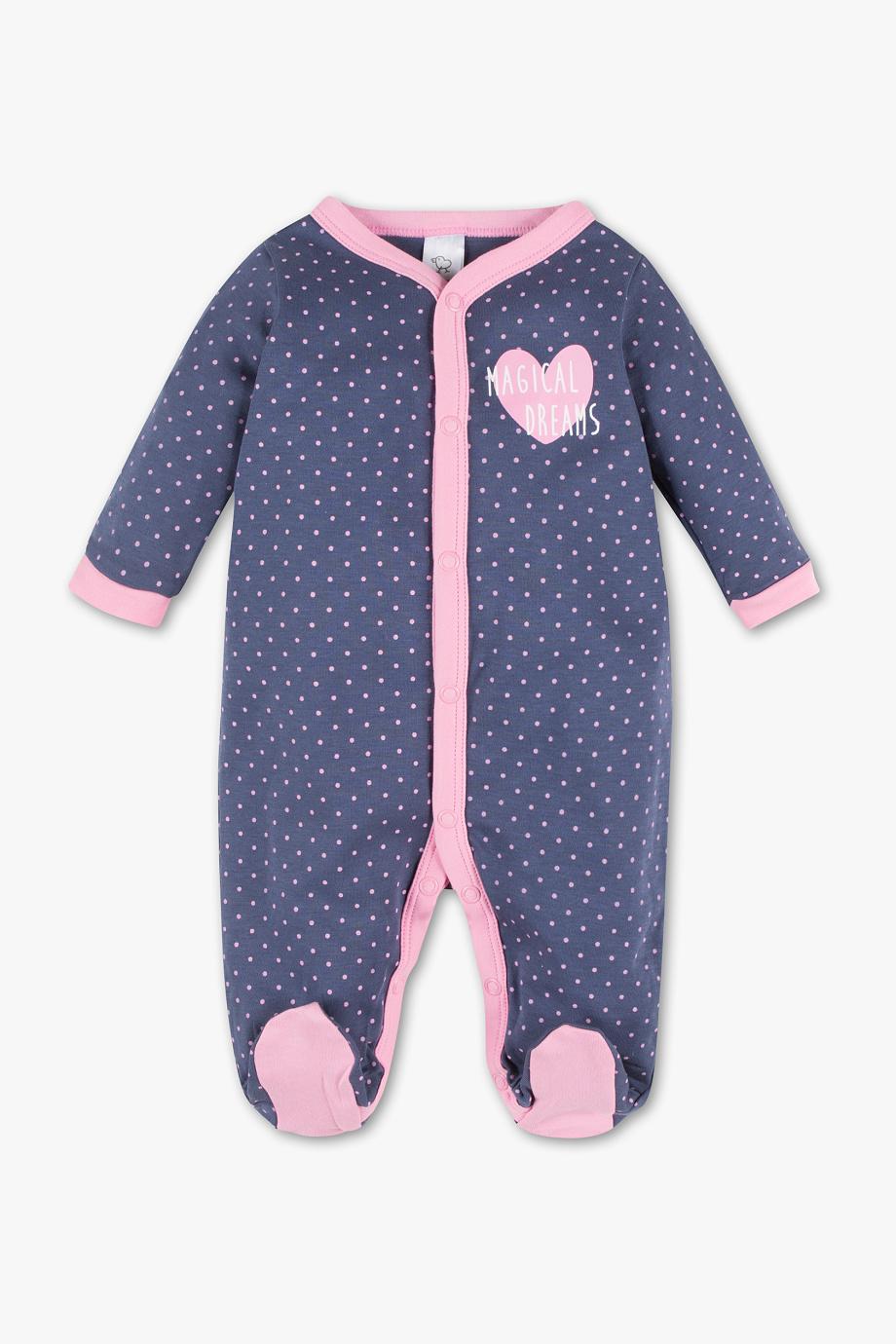 schlafanzug blau mit rosa herz