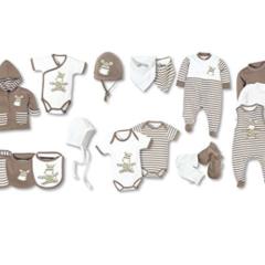 Komplettpaket in braun weiß Bodys und andere Kleidungsstücke