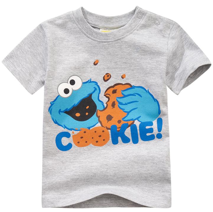T-Shirt Monster grau mit Aufdruck Krümmelmonster am Kekse naschen