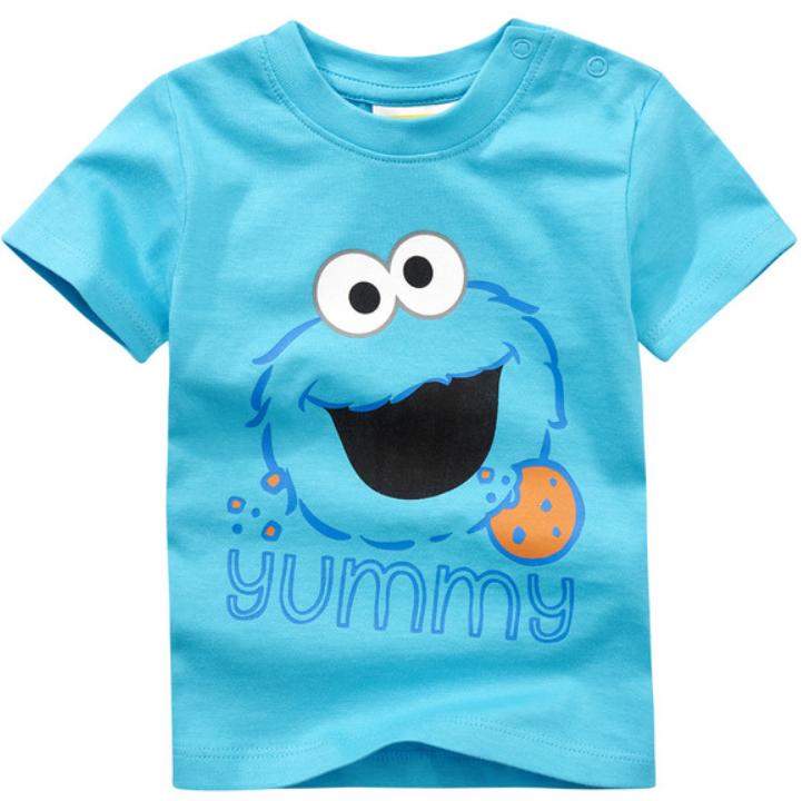 T-Shirt in blau mit Yummy aufschrift und Krümmelmonster