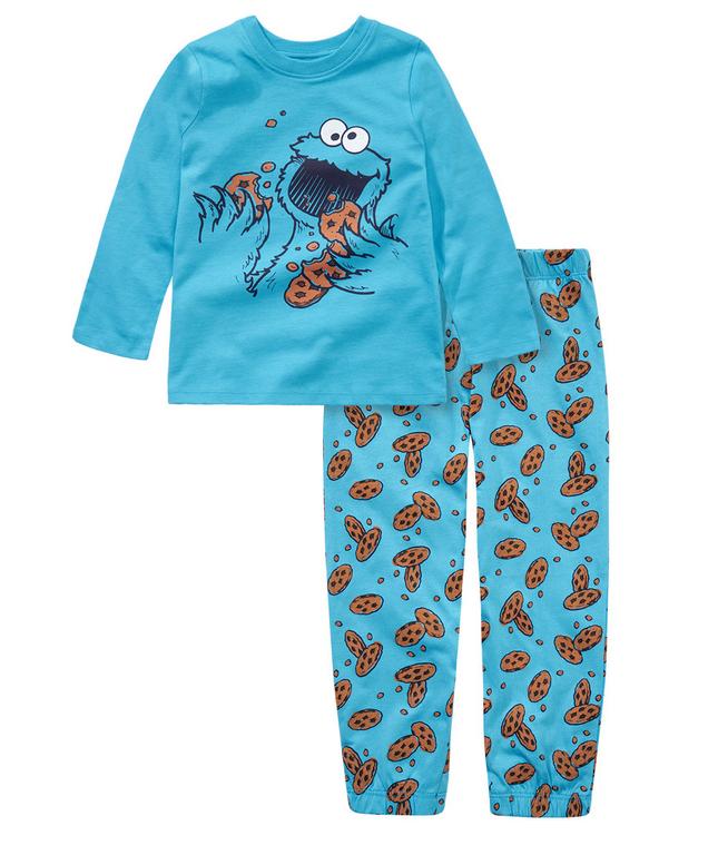 Schlafanzug in blau mit Keksen und Krümmelmonster