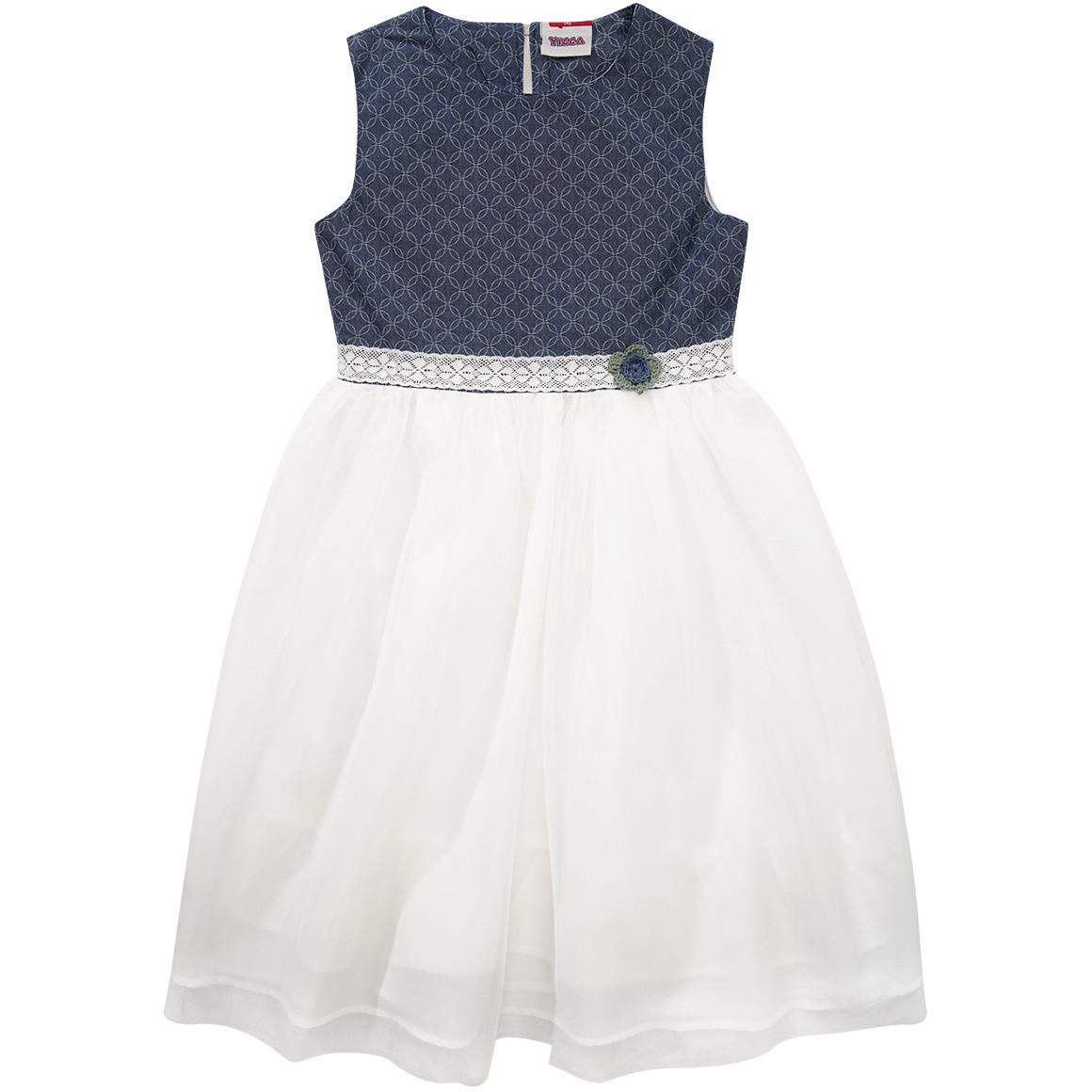 blaues Kleid mit weißem Tüll