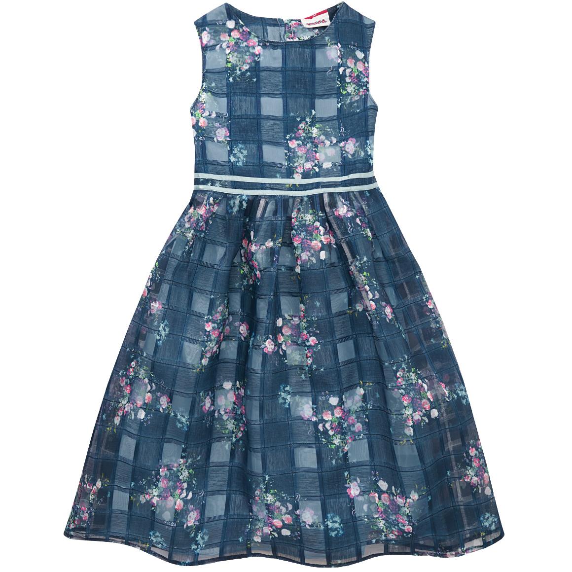 dunkel blaues Kleid mit Karomuster und blümchen