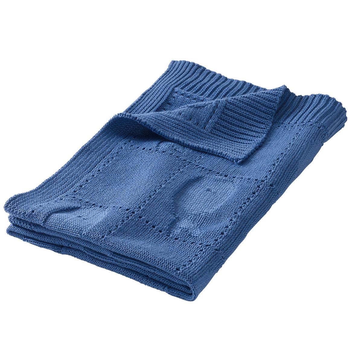 blaue Strickdecke