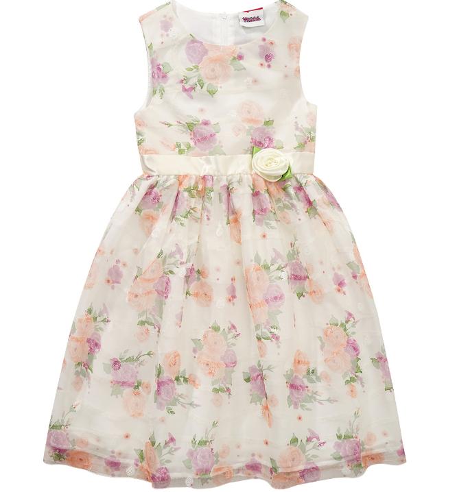 beiges Kleid mit Rosen