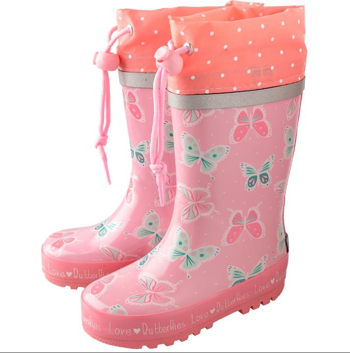rosane Gummistiefel mit Schmetterlingen