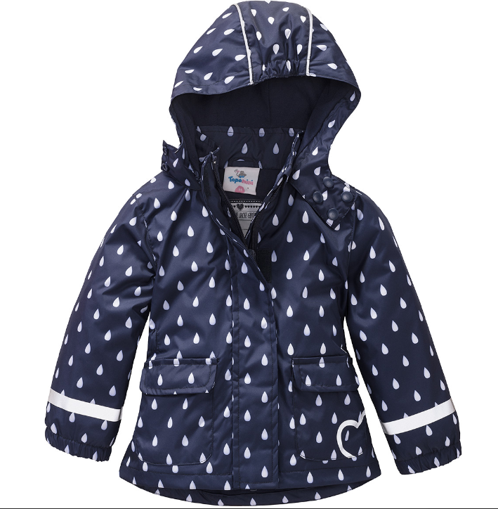 dunkel blaue Regenjacke mit hellen Regentropfen für Mädchen