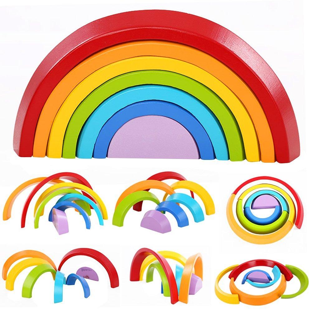 Regenbogen-Puzzle aus Holz