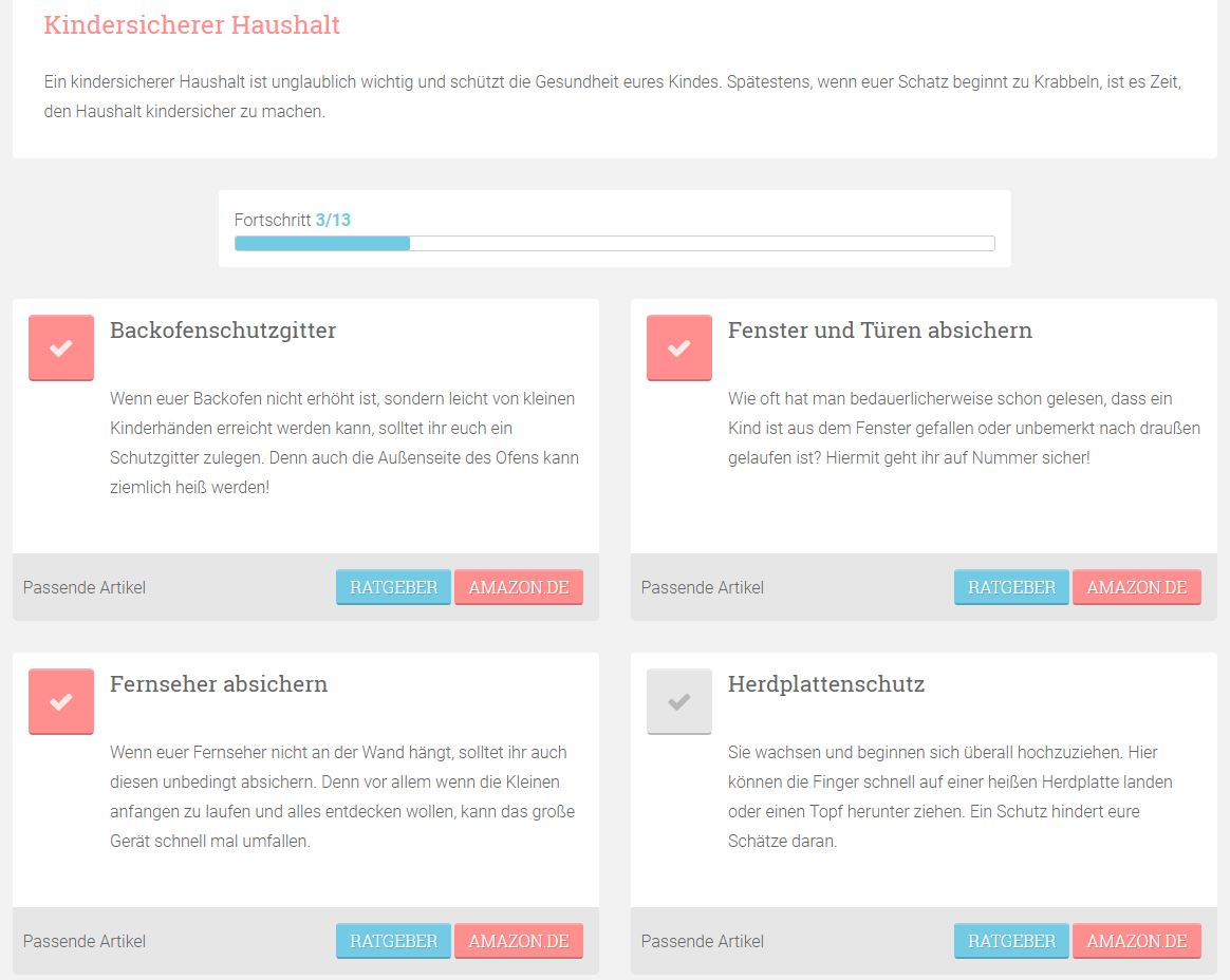 MeinBaby123.de Checklisten