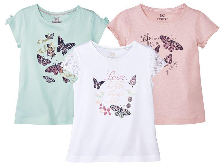 drei Mädchen T-shirts in weiß rosa und türkis