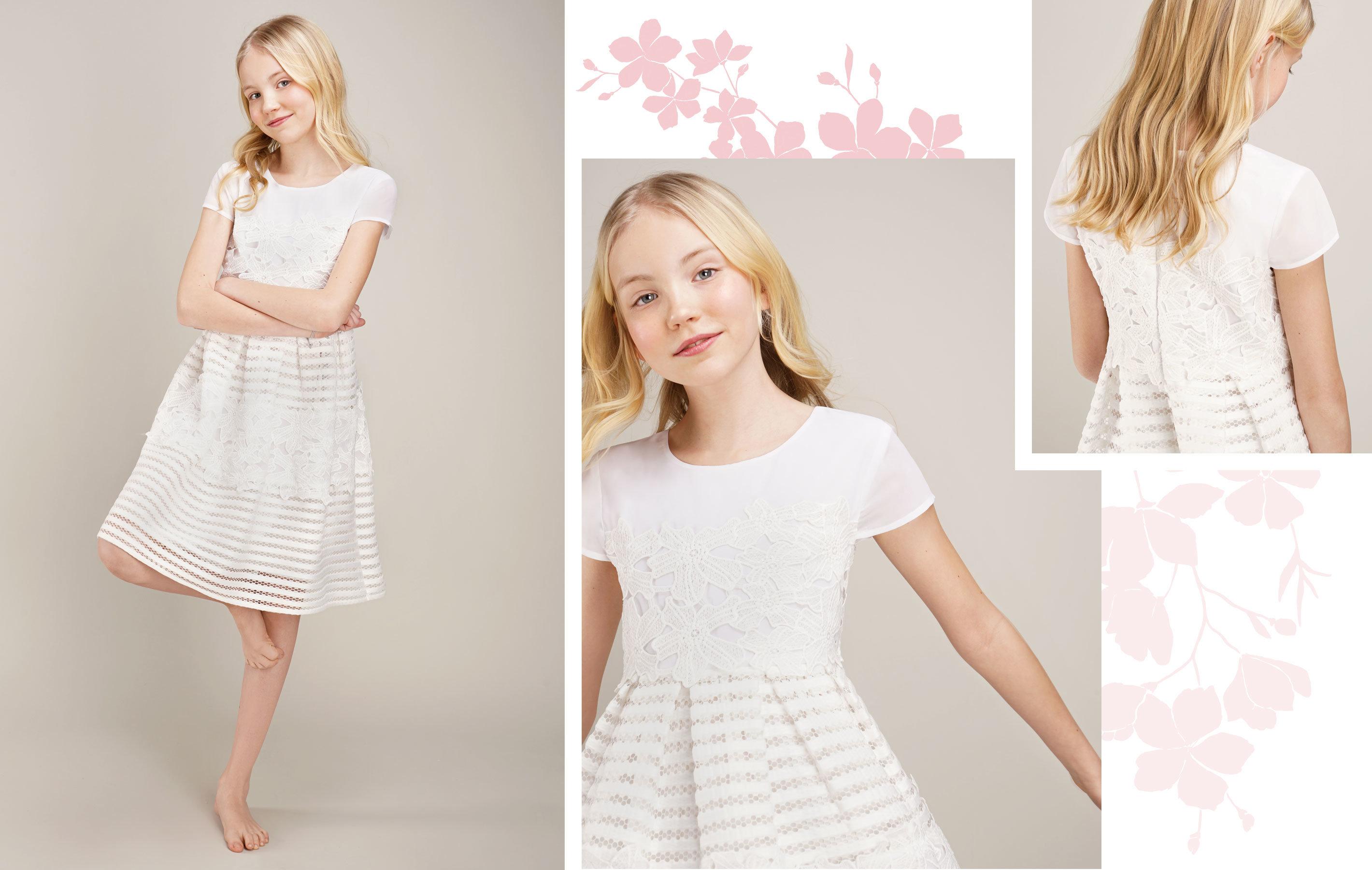 blondes Mädchen trägt weißes Kleid