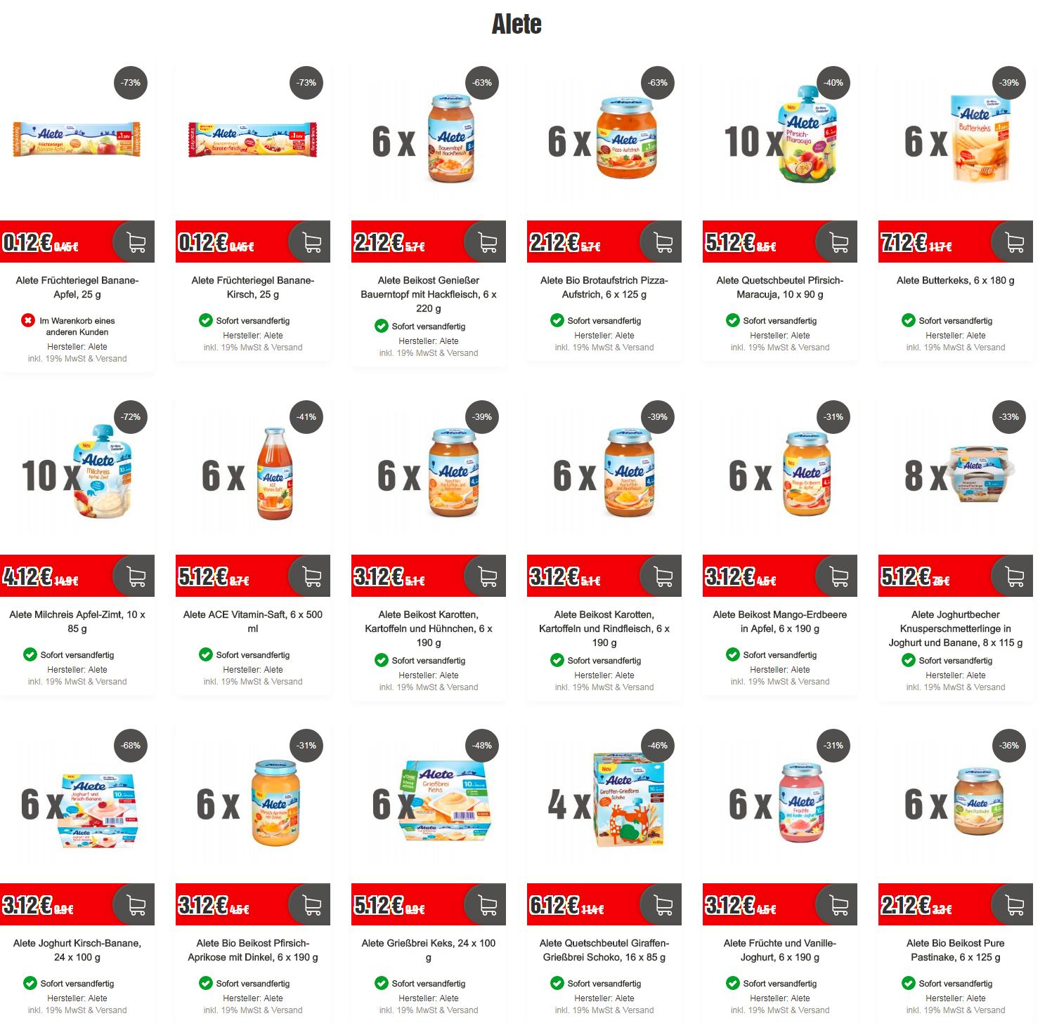Top12 Shop Angebot Alete Babybrei und mehr