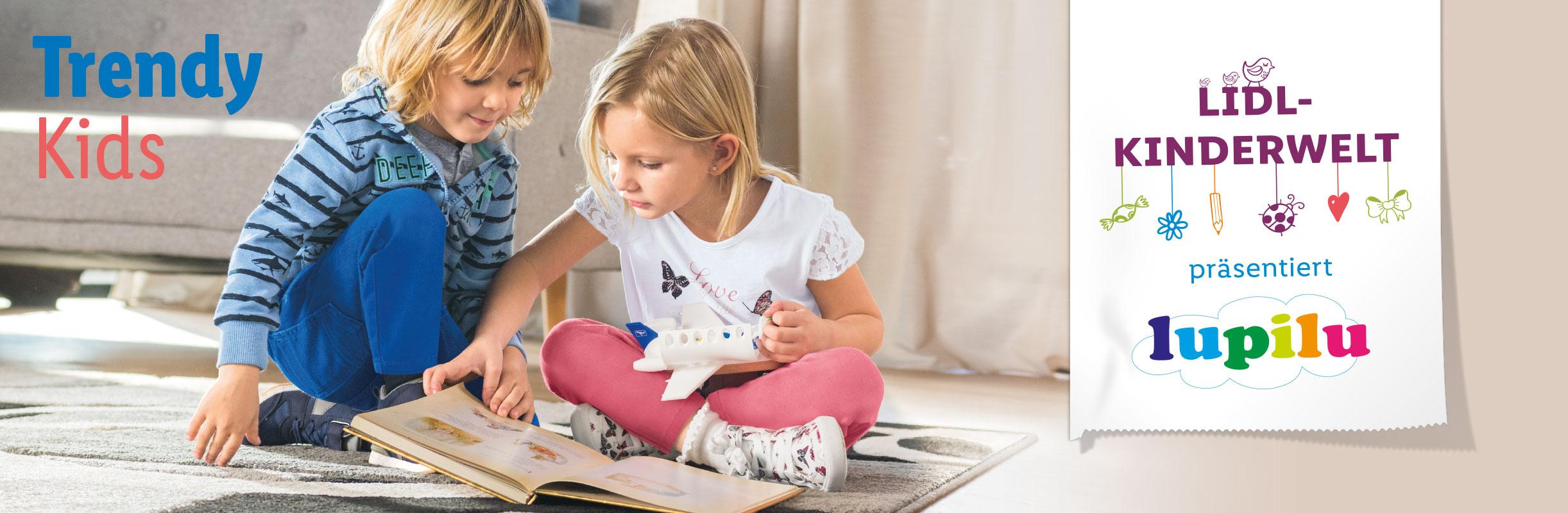 Lidl Banner - zwei Kinder spielen zusammen