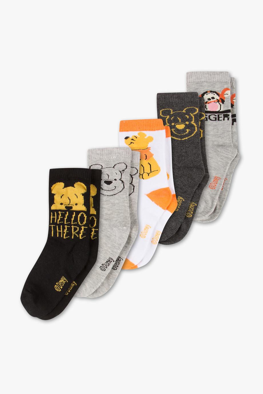 5erPack Socken mit Winnie Pooh logo in grau - gelb