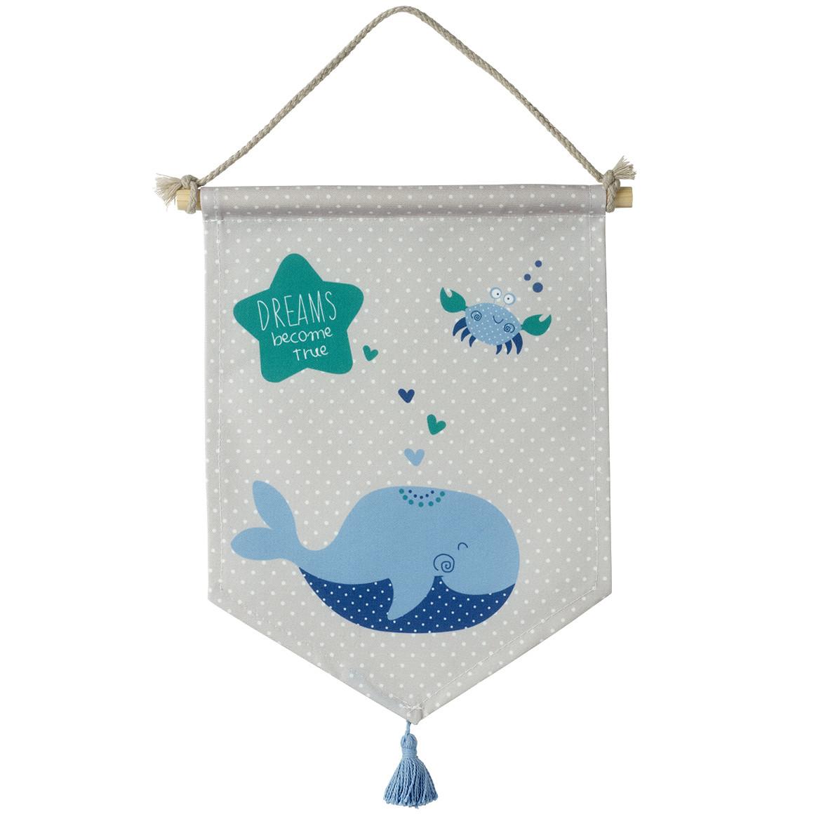 Wandhänger in grau mit blauem Waal