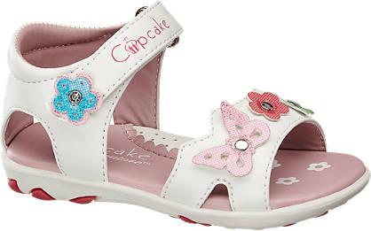 weiße Sandale für Mädchen mir Schmetterlingen und Blumen