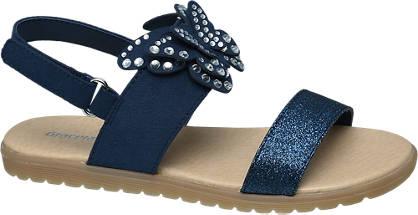dunkel blaue Mädchensandale mit Strasssteinen