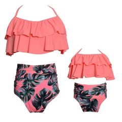 Mutter Tochter Bikinis in corall