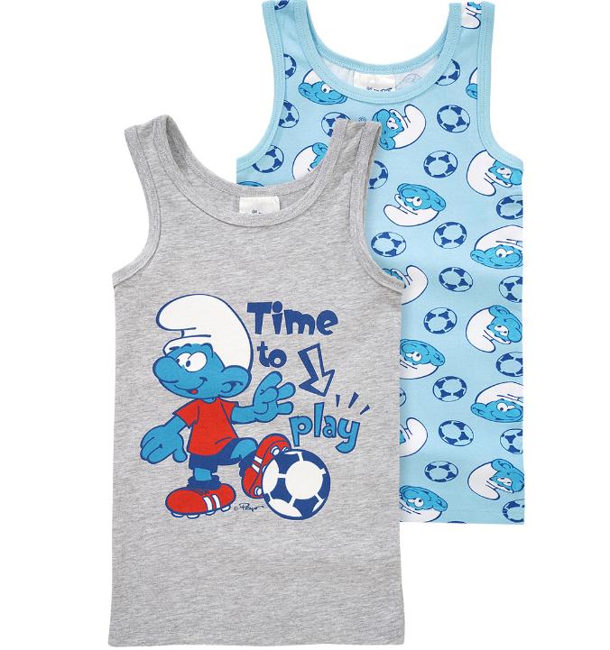 zwei Unterhemden für Jungs in blau und grau