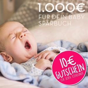 Gewinne 1000€ für dein Baby – 10€ Gutschein für JEDEN Teilnehmer!