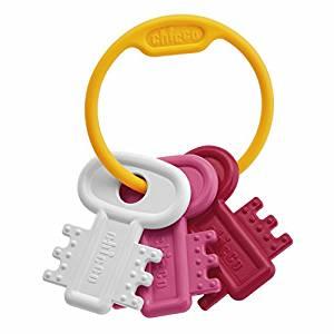 Beißring mit drei Schlüsseln in weiß rosa und pink