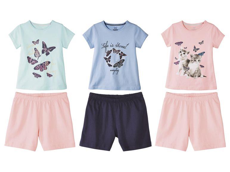 shorty Sets für Mädchen aus Tshirt und Hose in rosa und blau Tönen