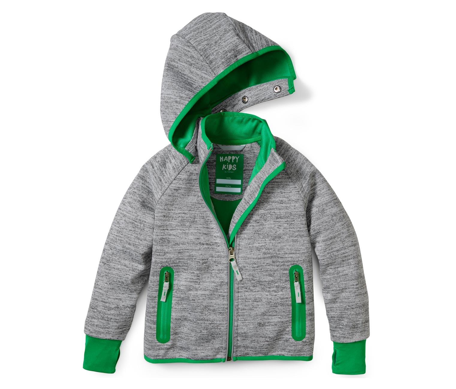 Softshelljacke für Jungen in grau grün