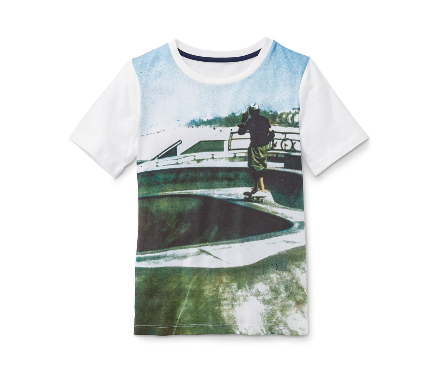 weißes T-shirt mit Skater
