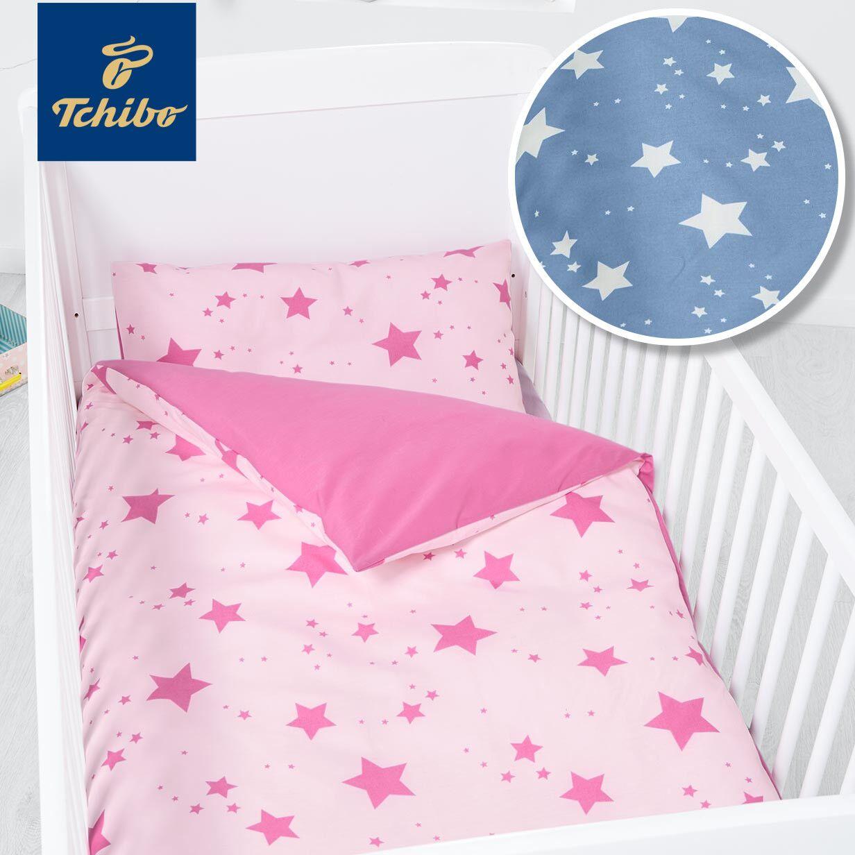 tchibo wendebettwäsche in rosa oder blau mit Sternen
