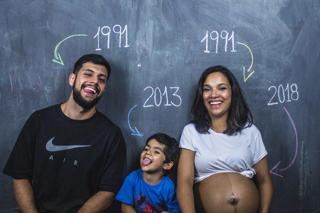 Familie und Geburtsjahre an einer Tafel